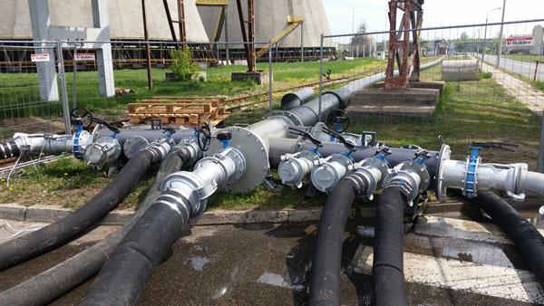 Kolektor tłoczny i linia DN600 na bypassie kanalizacji