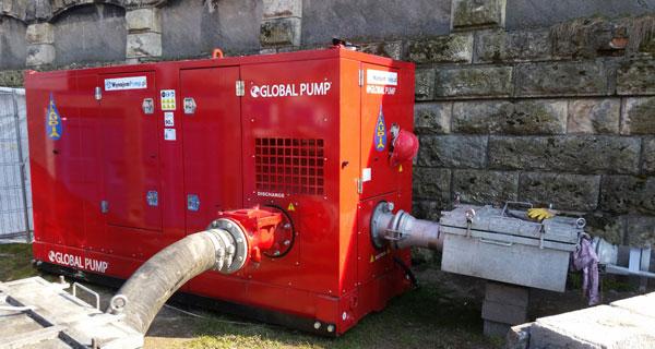 Agregat pompowy do ścieków wysokiej wydajności Global Pump 8GSTAP z koszem zewnętrznym ściekowym