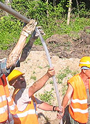 Wyciąganie rury wpłukującej z gruntu - zakończenie