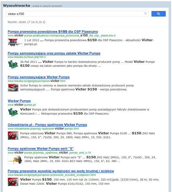 przykładowe wyniki wyszukiwania dla frazy: victor s 150